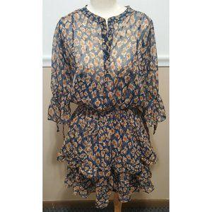 Love Stitch Chiffon Flower Print Dress Ruffled
